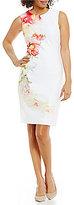 Calvin Klein Petite Floral-Print Scuba Sheath Dress