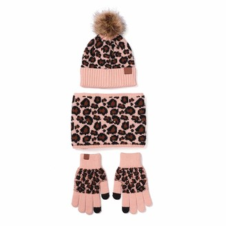 Weiqu 3Pcs Women Winter Pompom Beanie Hat Scarf Touch Screen Gloves Set Warm Knit Leopard Print Skull Cap Plush Lined Warmer For Winter Outdoor Protect