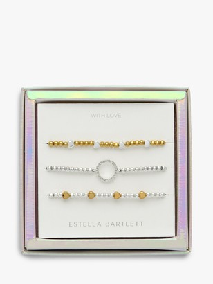 Estella Bartlett Hearts and Circles Bracelet Jewellery Gift Set, Silver/Gold