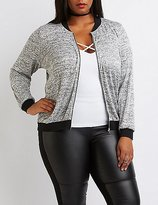 Charlotte Russe Plus Size Marled Knit Bomber
