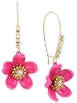 Betsey Johnson Gold-Tone Crystal Pink Flower Drop Earrings