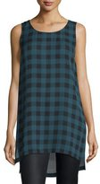 Eileen Fisher Sleeveless Buffalo Check Silk Tunic, Fir