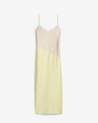 Express Satin Colorblock Slip Dress