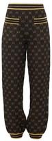 Gucci Metallic Gg-jacquard Track Pants - Womens - Black Gold