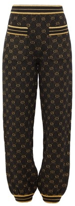 Gucci Metallic Gg-jacquard Track Pants - Womens - Black Gold