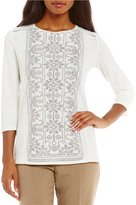Allison Daley Petites 3/4 Sleeve Puff Print Front Lace Inset Details Top