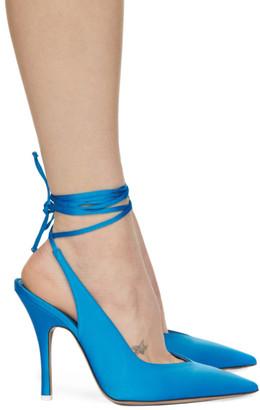 ATTICO Blue Satin Venus Slingback Heels