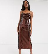 Asos Design DESIGN Tall cowl neck all over sequin midi cami dress