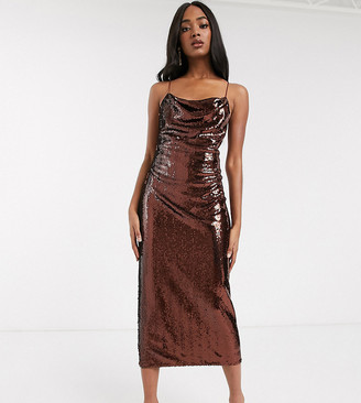 Asos DESIGN Tall cowl neck all over sequin midi cami dress