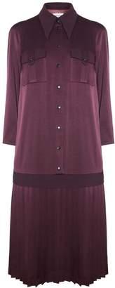 Diana Arno Sonia Pleated Shirt Dress In Burgundy