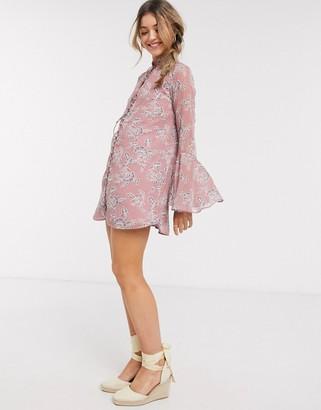 En Creme button front detail mini dress in floral print