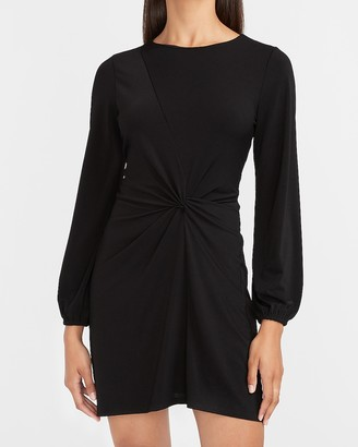 Express Twist Front Long Sleeve Sheath Dress