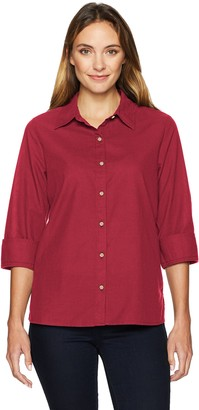 Chic Classic Collection Women's Button Front 3/4 Sleeve Woven Shirt-Solid