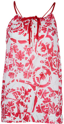 Gucci White Cotton Floral Print Sleeveless Tank Top M