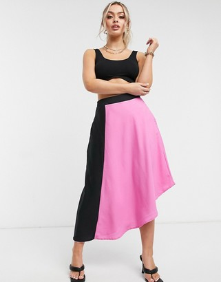 UNIQUE21 contrast panelled skirt in pink and black