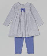 Magnificent Baby Gray Pleated Bow Magnetic Closure Dress & Leggings - Infant