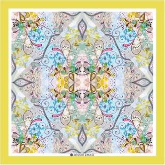 Jessie Zhao New York Silk Scarf In Yellow With Underwater Imagination