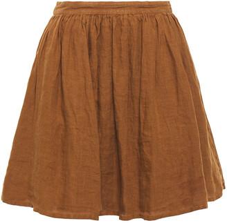 American Vintage Ficobay Gathered Linen Mini Skirt