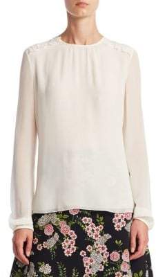 Giambattista Valli Long-Sleeve Ruffle-Trim Silk Blouse