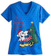 Disney Santa Mouse Holiday Tee for Women