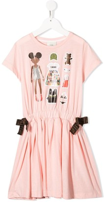 Fendi graphic print ruched T-shirt dress