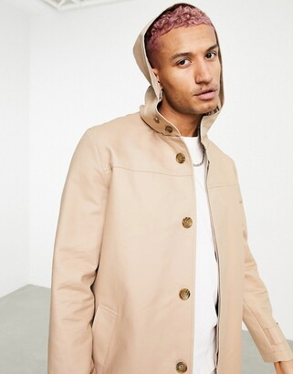 ASOS DESIGN shower resistant hooded trench coat in stone