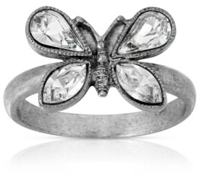 Pewter Crystal Butterfly Ring