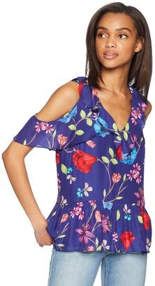 Parker Women's Dedra Cold Shoulder v-Neck Short Sleeve Blouse