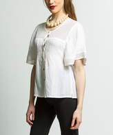 White Openwork-Yoke Button-Up Top - Plus Too