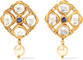 Amrapali 18-karat Gold, Tanzanite, Diamond And Pearl Earrings
