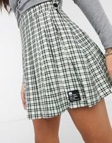 Bershka checked pleated mini skirt in mint