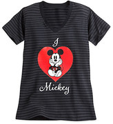 Disney Mickey Mouse Striped V-Neck Tee for Women