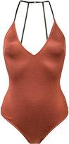 Fleur Du Mal V-neck bodysuit - women - Spandex/Elastane/Acetate - M