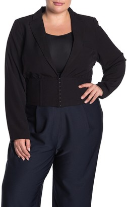 City Chic Peak Lapel Cinched Waist Jacket (Plus Size)