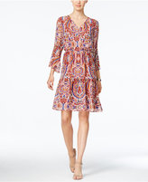 Sangria Printed Blouson Peasant Dress