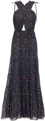 Ulla Johnson Crossover Printed Metallic Cotton-blend Voile Maxi Dress