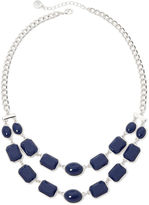 Liz Claiborne Blue Stone Silver-Tone 2-Row Necklace