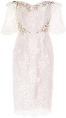 Marchesa Off-Shoulder Lace Dress