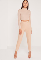 Missguided Buckle Detail Crepe Pants Nude