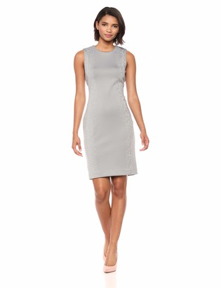 Calvin Klein Women's Solid Sleeveless Sheath with Side Embellishment Dress
