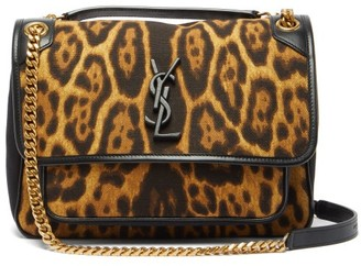 Saint Laurent Niki Medium Leopard-print Canvas Shoulder Bag - Leopard