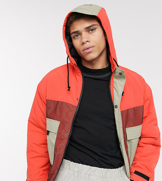 Collusion utility jacket in orange and stone