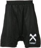 11 By Boris Bidjan Saberi drop-crotch logo shorts - men - Polyester - XS
