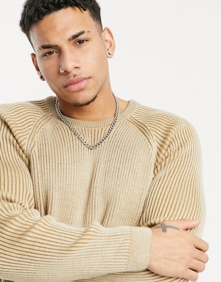 ASOS DESIGN knit plated rib sweater in oatmeal twist