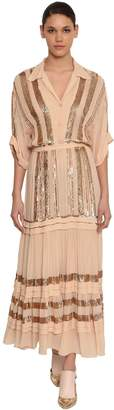 Temperley London Sequined Chiffon Shirt Midi Dress