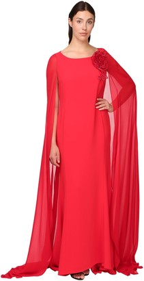 Marina Rinaldi Compact Jersey Crepe Long Dress W/ Cape