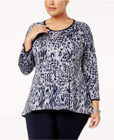 Melissa McCarthy Trendy Plus Size Animal-Print Peplum Top