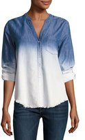 Soft Joie Normana Button Down Ombre Shirt, Blue