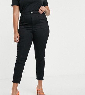 Asos DESIGN Curve ankle length stretch skinny pants in black