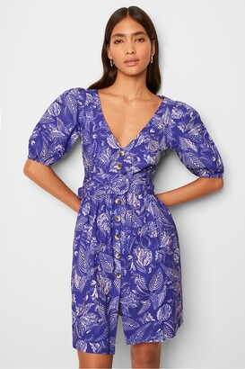 French Connection Besima Poplin Short Sleeve V Neck Dress